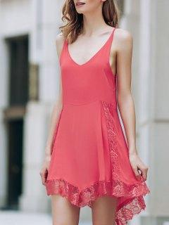 Lace Spliced Plunging Neck Irregular Hem Dress - Red L