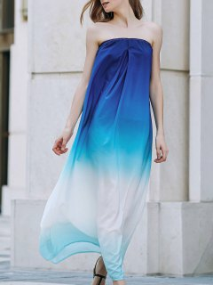 Ombre Strapless Loose Fitting Maxi Dress - Blue Xl