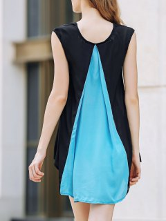 Cap Sleeve Hit Color Chiffon Dress - Blue And Black M
