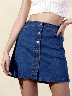 Buttoned Denim Skirt - Blue L
