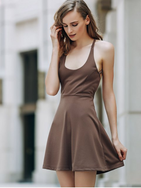 women's Solid Color Backless Scoop Neck Dress - LIGHT BROWN 2XL Mobile