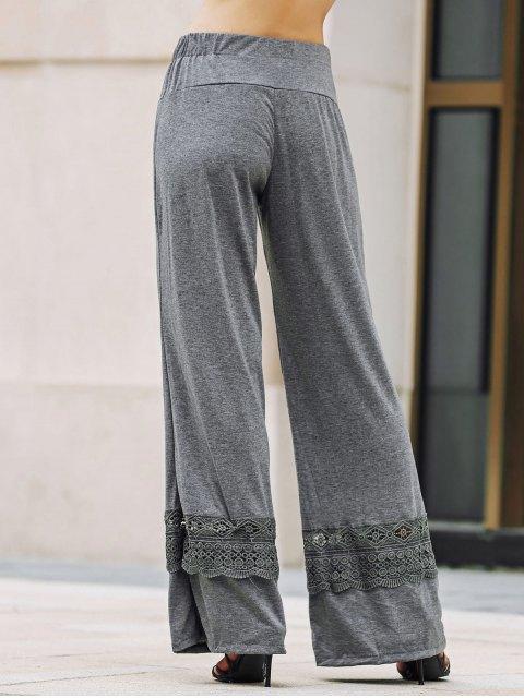 online Solid Color Lace Spliced High Waist Wide Leg Pants - GRAY L Mobile