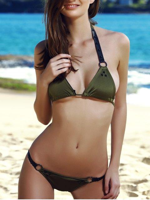 new Alluring Halter Alloy Ring Design Bikini For Women - OLIVE GREEN S Mobile