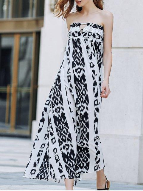 fancy Bohemian Bandeau Print Maxi Dress - WHITE AND BLACK XL Mobile