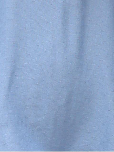 outfits Short Sleeve Off The Shoulder Solid Color Dress - LIGHT BLUE L Mobile