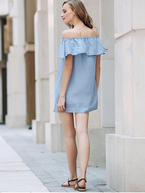 shops Short Sleeve Off The Shoulder Solid Color Dress - LIGHT BLUE S Mobile