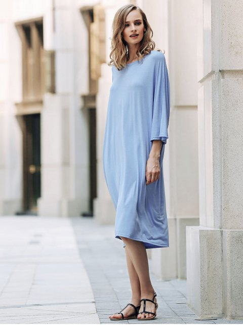 fancy Loose Solid Color Round Neck Bat-Wing Sleeve Dress - BLUE ONE SIZE(FIT SIZE XS TO M) Mobile