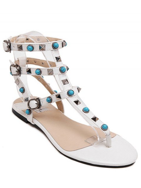 outfits Faux Turquoise Rivet Flat Heel Sandals - WHITE 35 Mobile
