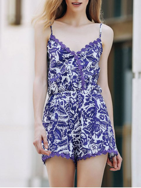 fancy Cashew Print Spaghetti Strap Romper - BLUE AND WHITE L Mobile