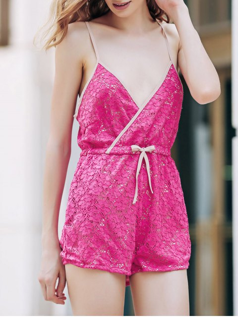 trendy Rose Red Lace Cami Playsuit - ROSE S Mobile
