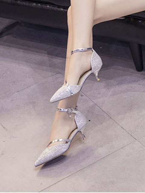 latest Two-Piece Sequied Cloth Pointed Toe Pumps - SILVER 37 Mobile
