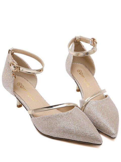 new Two-Piece Sequied Cloth Pointed Toe Pumps - GOLDEN 36 Mobile