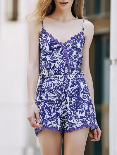 Cashew Print Spaghetti Strap Romper - Blue And White