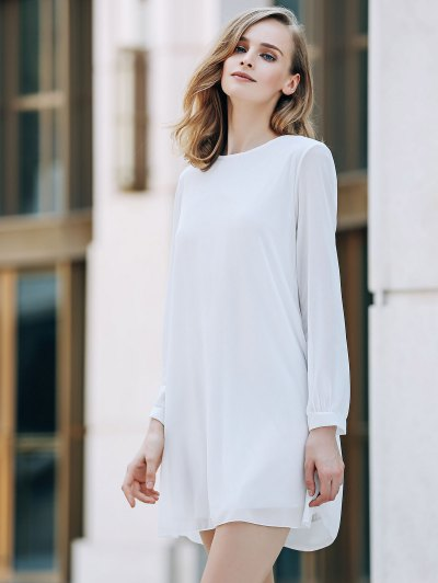 Solid Color Round Collar Long Sleeve Chiffon Dress - WHITE M Mobile