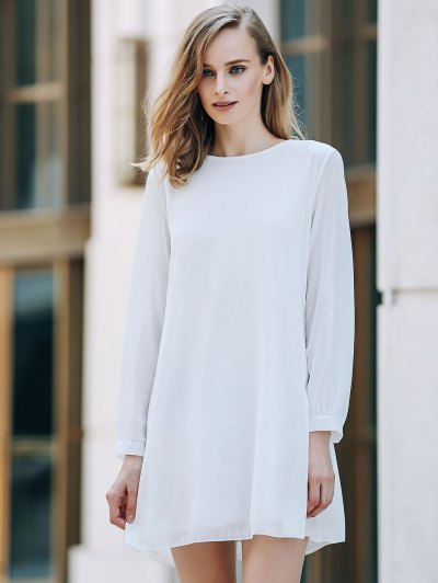 Solid Color Round Collar Long Sleeve Chiffon Dress - WHITE L Mobile