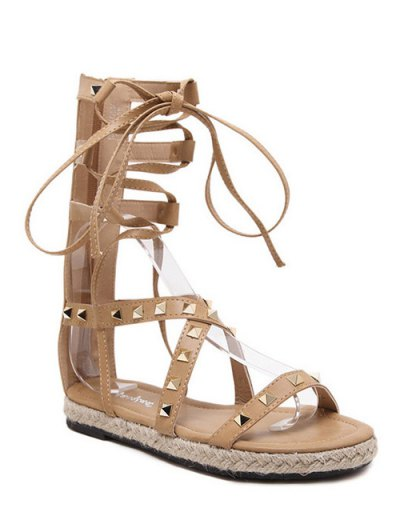 Flat Heel High Top And Rivet Sandals - Apricot