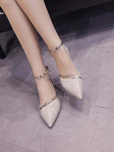 Two-Piece Sequied Cloth Pointed Toe Pumps - GOLDEN 38 Mobile