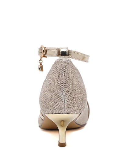 Two-Piece Sequied Cloth Pointed Toe Pumps - GOLDEN 37 Mobile