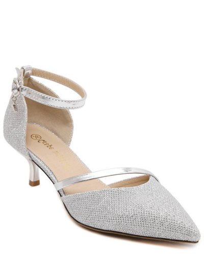 Two-Piece Sequied Cloth Pointed Toe Pumps - SILVER 37 Mobile
