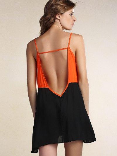 Chic Spaghetti Strap Hit Color Spliced Backless Women's Dress - BLACK XL Mobile