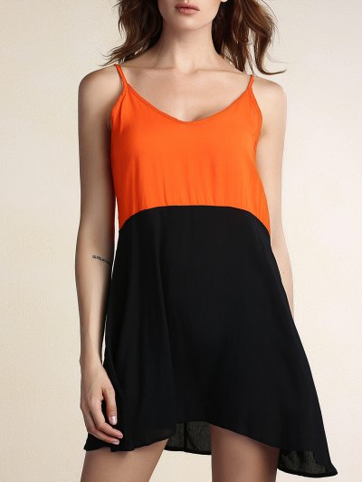 Chic Spaghetti Strap Hit Color Spliced Backless Women's Dress - BLACK M Mobile
