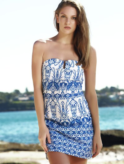 Strapless Floral Print Dress - BLUE XL Mobile