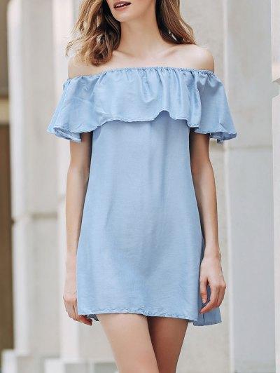 Short Sleeve Off The Shoulder Solid Color Dress - Light Blue