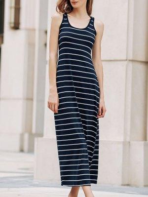 Stripe Racerback U Neck Sundress - Sapphire Blue