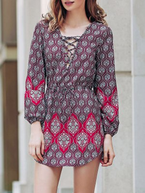 Loose Digital Print Round Neck Long Sleeve Dress - Red