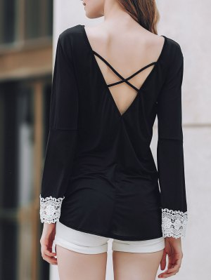 Low Back Irregular Hem T-Shirt - Black
