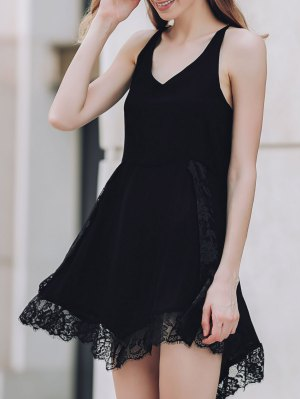 Lace Spliced Plunging Neck Irregular Hem Dress - Black