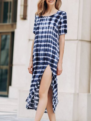 Tie-Dyed Round Collar Short Sleeve High Slit Dress