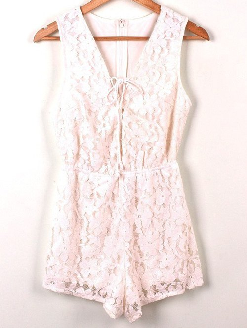 Sleeveless Lace PlaysuitClothes<br><br><br>Size: L<br>Color: WHITE