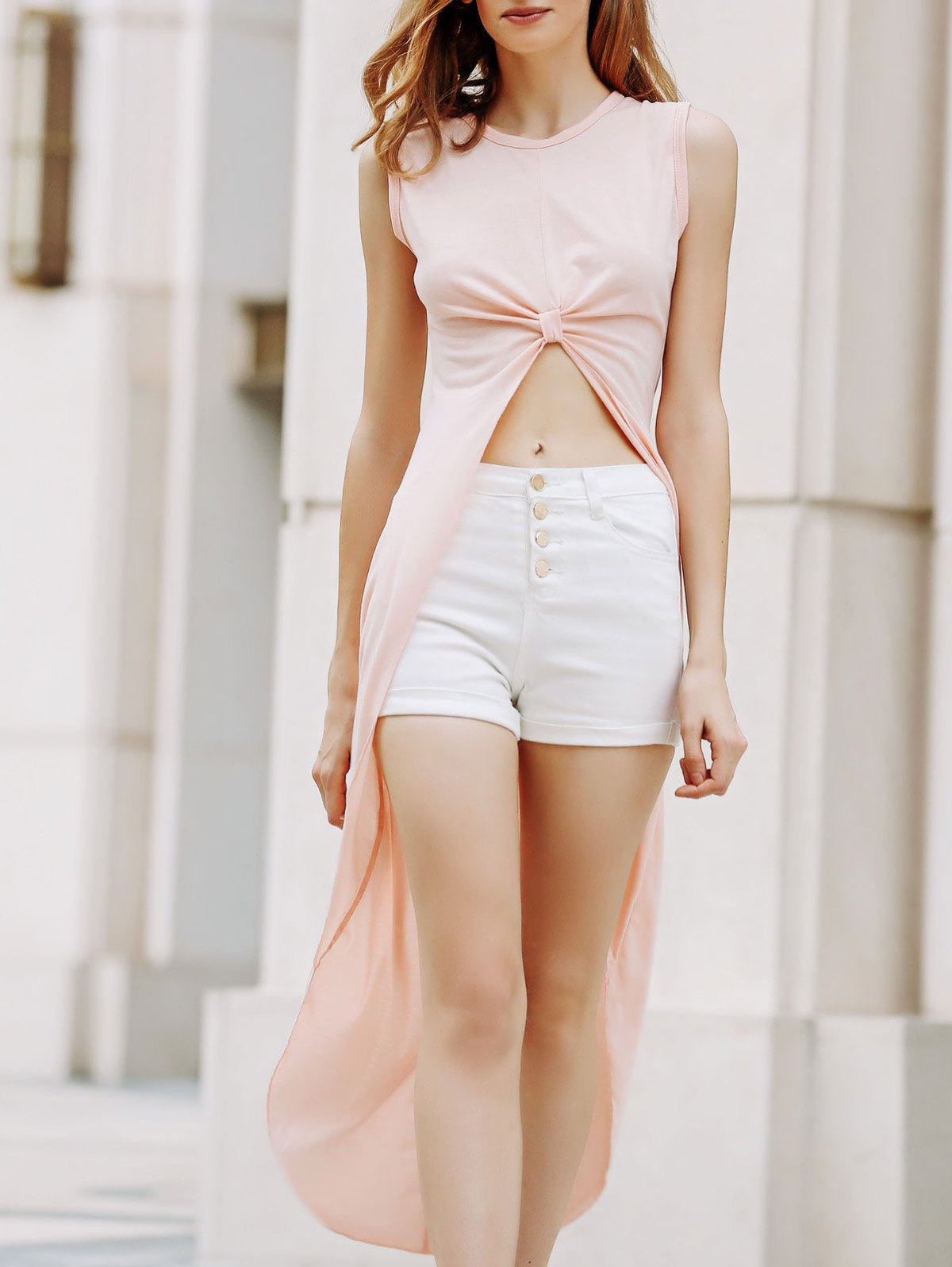 Round Neck Sleeveless Apricot High Low Dress