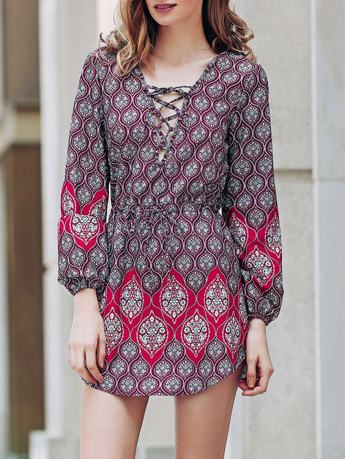 Round Neck Long Sleeve Loose Digital Print Dress