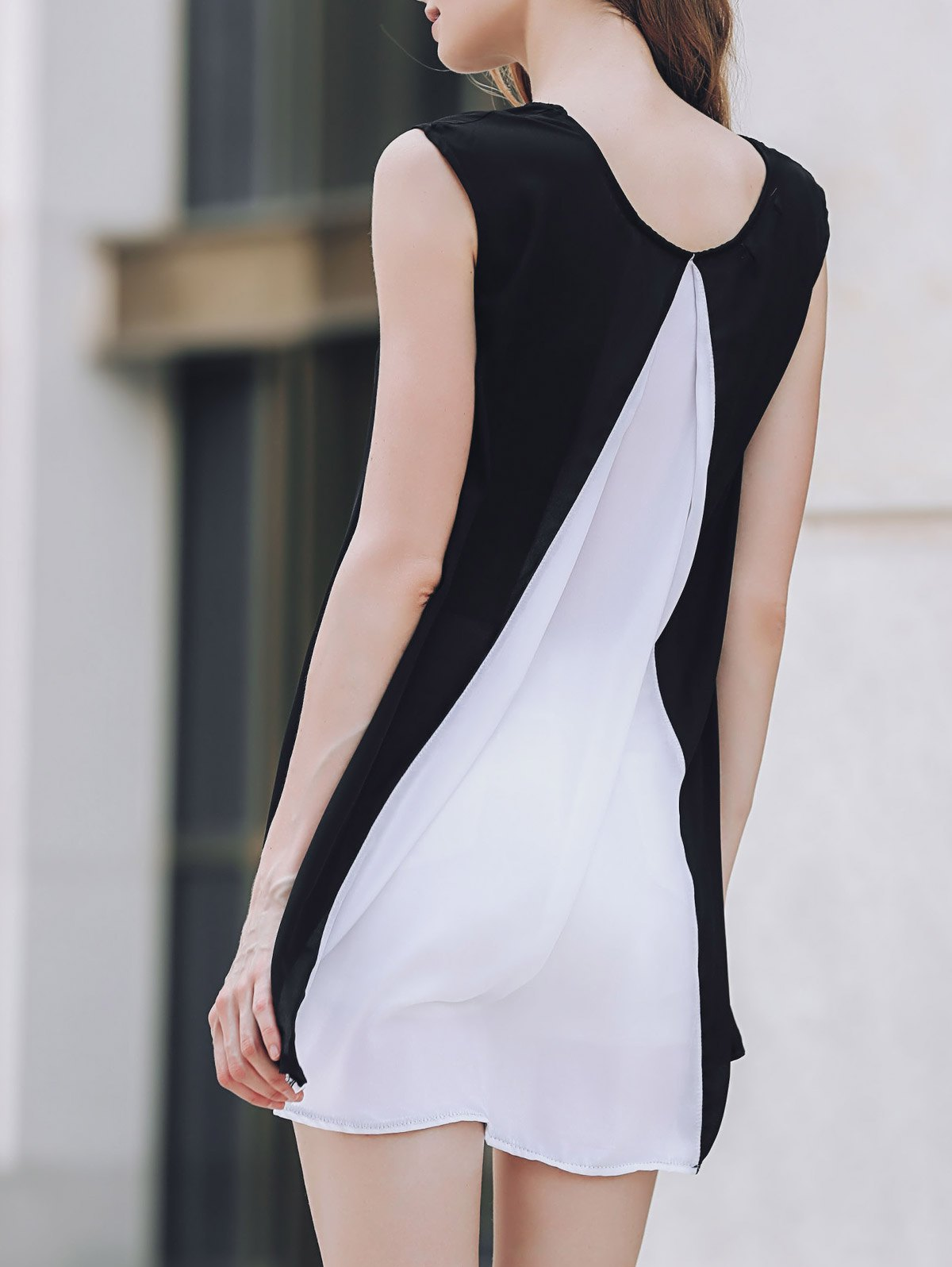 Cap Sleeve Hit Color Chiffon DressClothes<br><br><br>Size: L<br>Color: WHITE AND BLACK