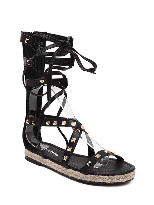 Buy Flat Heel High Top and Rivet Sandals BLACK 39