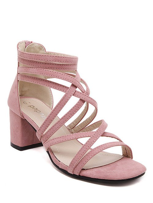 Chunky Heel Solid Color Strappy Sandals