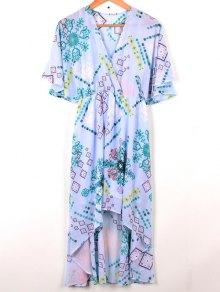 Cross-Over Robe En Mousseline De Soie - Bleu Clair
