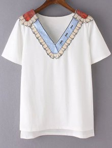 Sequined Neckline T-Shirt