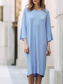 Loose Solid Color Round Neck Bat-Wing Sleeve Dress