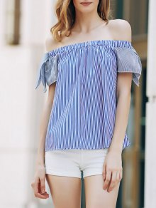 Loose Striped Short Sleeve Off The Shoulder T-Shirt