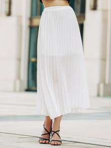 Solid Color High Waist A-Line Chiffon Skirt