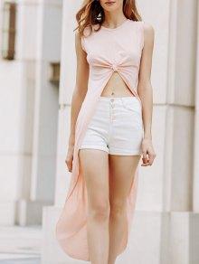Apricot Round Neck Sleeveless High Low Dress - Apricot