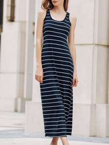 Stripe Racerback U Neck Sundress