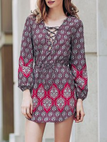 Loose Digital Print Round Neck Long Sleeve Dress