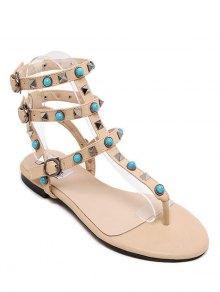 Faux Turquoise Rivet Flat Heel Sandals