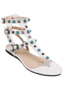 Faux Turquoise Rivet Flat Heel Sandals - White 35