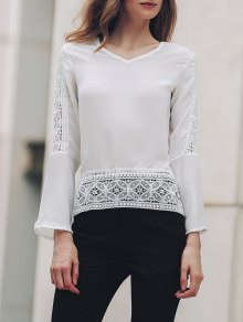Bell Sleeve Lace Patchwork Chiffon Top