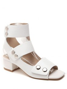 Chunky Heel Button Solid Color Sandals - White